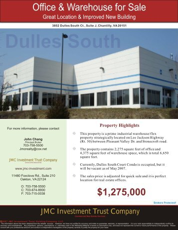 Dulles South Condo in Chantilly, VA - JMC Investment Trust Company