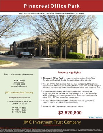 Pinecrest Office Building - JMC Investment Trust Company