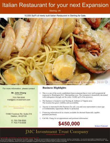 Italian Restaurant - Ashburn/Sterling, VA - JMC Investment Trust ...