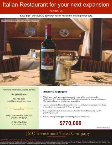 Italian Restaurant - Arlington, VA - JMC Investment Trust Company