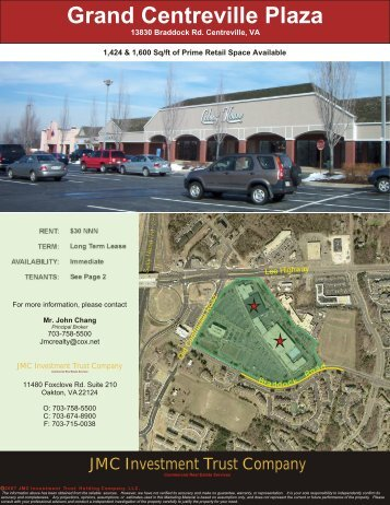 Grand Centreville Plaza - Lease - JMC Investment Trust Company