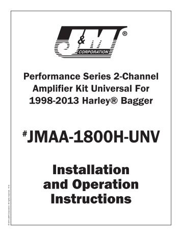 Installation Instructions - J&M Motorcycle Audio