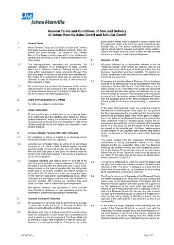 General Terms and Conditions of Sale and Delivery of Johns ...