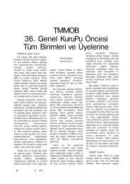 TMMOB 36. Genel KuruPu Öncesi Tüm Birimleri ve Üyelerine