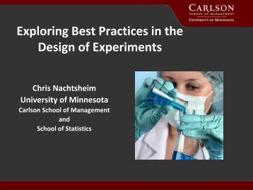 Exploring Best Practices in the Design of Experiments - JMP