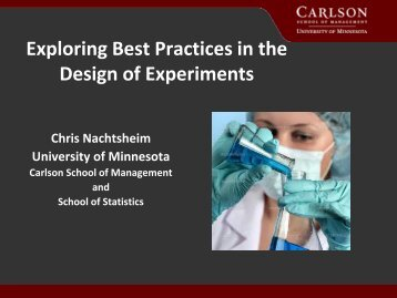 Exploring Best Practices in the Design of Experiments - JMP