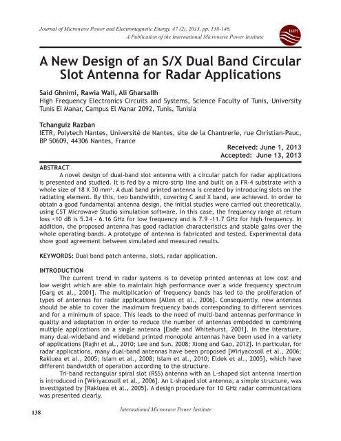 A New Design of an S/X Dual Band Circular Slot Antenna