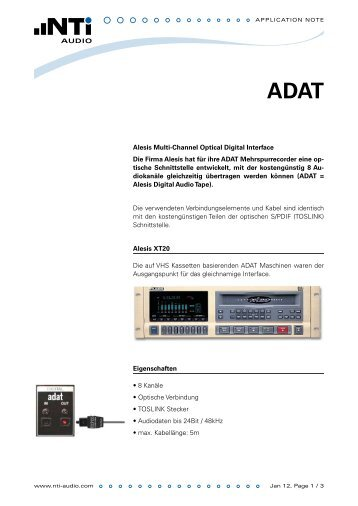 Alesis Multi-Channel Optical Digital Interface Die Firma Alesis hat für ...