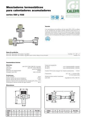 Mezcladores termostáticos para calentadores acumuladores -  Caleffi