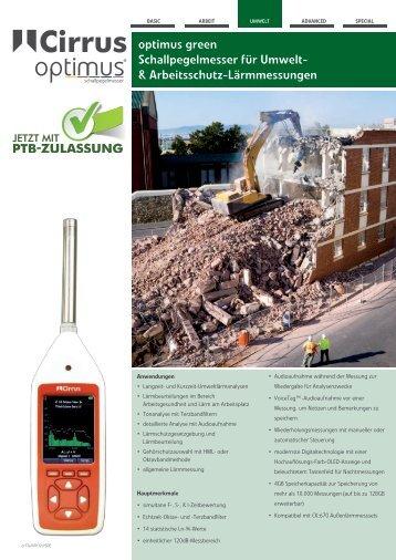 optimus green Schallpegelmesser für Umwelt ... - Cirrus Research plc