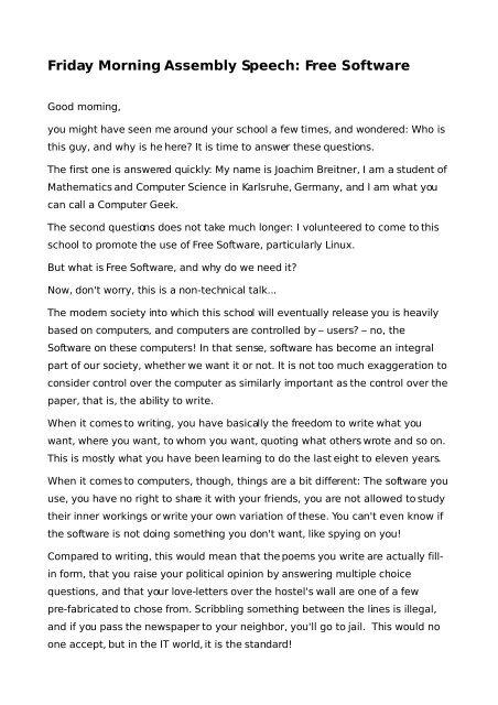 Friday Morning Assembly Speech: Free Software - Joachim Breitner