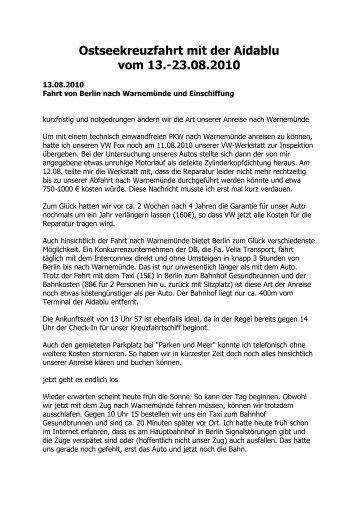 Ostseekreuzfahrt mit der Aidablu - Elke & Joachim Gerhard