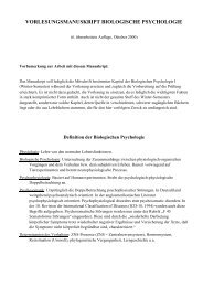 VORLESUNGSMANUSKRIPT BIOLOGISCHE PSYCHOLOGIE