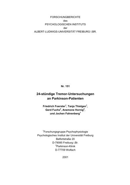 Tremor-Untersuchunge.. - Jochen Fahrenberg