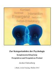 Zur Kategorienlehre der Psychologie Komplementaritätsprinzip ...