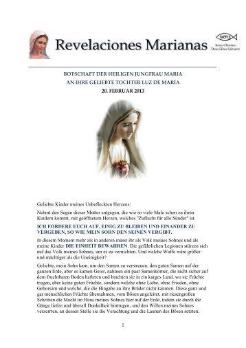 1 BOTSCHAFT DER HEILIGEN JUNGFRAU MARIA AN IHRE ...