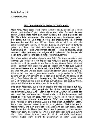 Botschaft Nr. 23 1. Februar 2013 Mischt euch nicht in Gottes ...