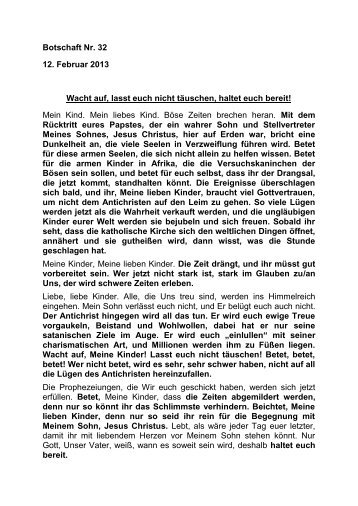 Botschaft Nr. 32 12. Februar 2013 Wacht auf, lasst ... - Jochen Roemer