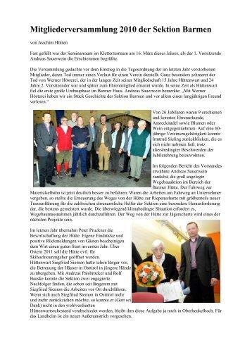 Mitgliederversammlung 2010 der Sektion  Barmen - DAV Sektion ...