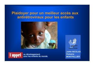Plaidoyer pour un meilleur accès aux antirétroviraux pour les enfants