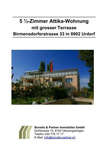 5 ½ Zimmer-Attika-Wohnung - Bonello & Partner Immobilien GmbH