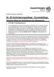 Informationsblatt Nr. 08 Verhinderungspflege - Kurzzeitpflege