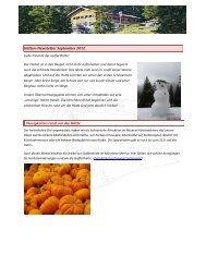 Hütten-Newsletter September 2012 Neuigkeiten rund um die Hütte