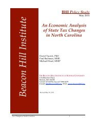 An Economic Analysis of State Tax Changes in North Carolina