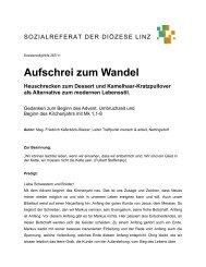 Aufschrei zum Wandel Heuschrecken zum Dessert ... - Diözese Linz