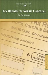 TAX REFORM IN NORTH CAROLINA - John Locke Foundation