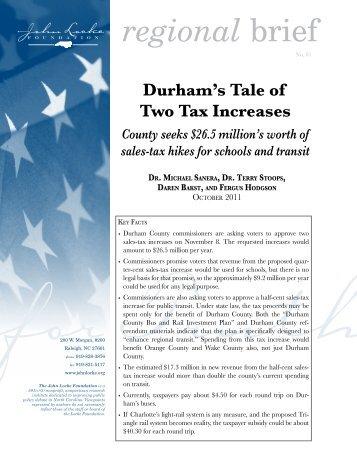 Durham's Tale of Two Tax Increases - John Locke Foundation