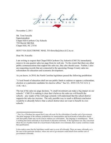 November 2, 2011 Mr. Tom Forcella Superintendent Chapel Hill ...