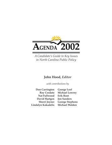 Agenda 2002 Template - John Locke Foundation