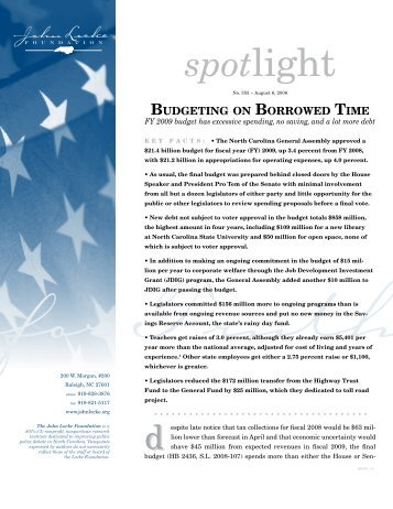 Budgeting on Borrowed Time - John Locke Foundation