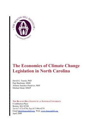 The Economics of Climate Change Legislation in North Carolina