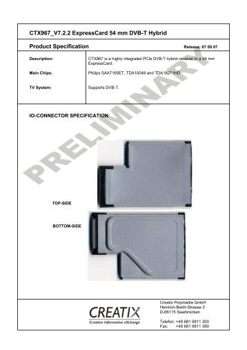 CTX967 V7.2.2 Expresscard 54 mm DVB-T Hybrid Product - creatix
