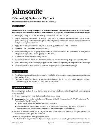 Optima And Granit Maintenance Instructions For Sheet - Johnsonite