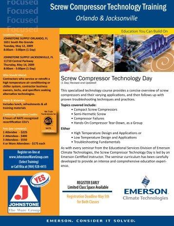 Screw Compressor Technology Training - Johnstone Supply