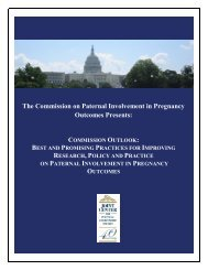 The Commission on Paternal Involvement in Pregnancy Outcomes ...