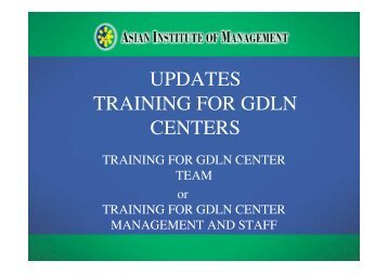 updates training for gdln centers - Tokyo Development Learning ...