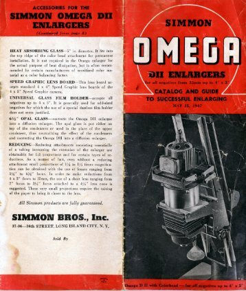 Omega DII Catalog and Guide to Successful Enlarging