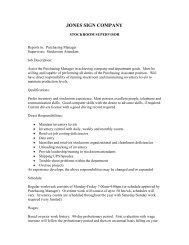 a complete job description. - Jones Sign
