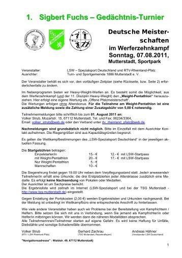 1. Sigbert Fuchs – Gedächtnis-Turnier - LSW Spezialsport