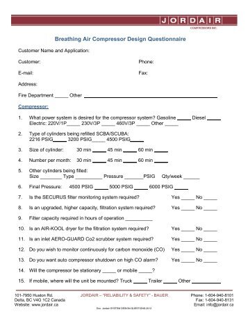 Breathing Air Compressor Design Questionnaire - Jordair ...