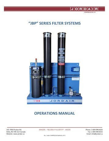 """JP"" SERIES FILTER SYSTEMS OPERATIONS MANUAL - Jordair ..."