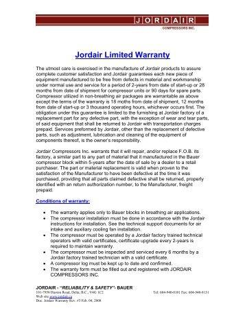 Limited Warranty - Jordair Compressors Inc.