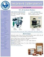June Specials - Jorgensen Laboratories