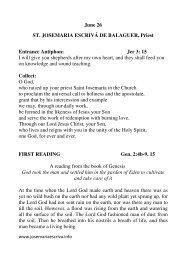 reading - Saint Josemaria Escriva