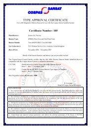 Certificate Cospas Sarsat Tron 40S MkII_40GPS MkII.pdf - Jotron