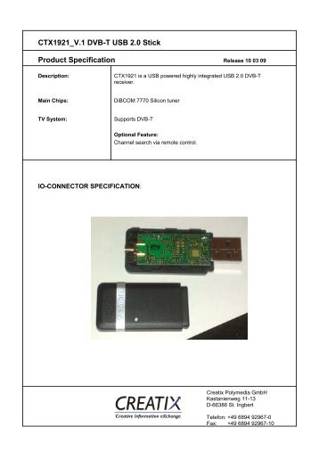 CTX1921 V.1 DVB-T USB 2.0 Stick Product Specification - creatix